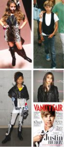 Dall' alto a sinistra, in senso orario: Cecilia Cassini, Romeo Beckham, Lourdes Leon, Justin Bieber su Vanity Fair Usa e Willow Smith