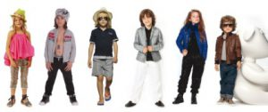 Da sinistra: look Roberto Cavalli Angels, Diesel Kid, Woolrich Kids, Armani Junior, Liu Jo Junior e Gucci Kids